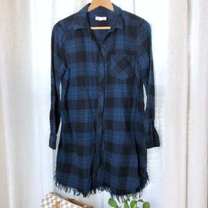BeachLunchLounge Blue Plaid Flannel Dress/Tunic